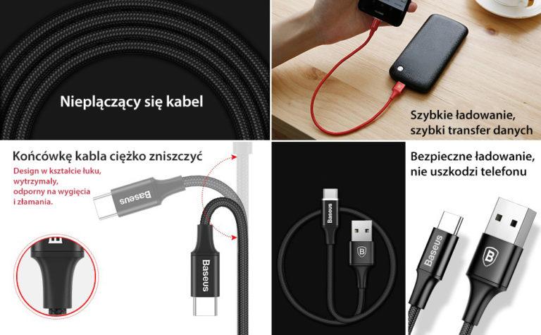 Baseus funkcje kabla USB 3.0 z LED