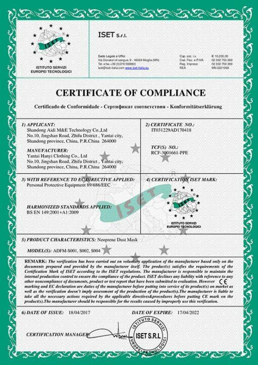 Certyfikat masek antysmogowych CE