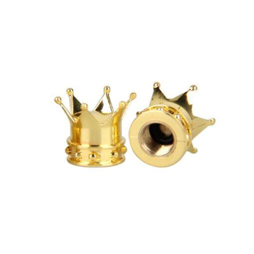 Złote nakrętki na wentyle w kształcie korony