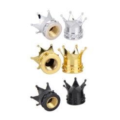 Różne nakrętki na wentyle w kształcie korony