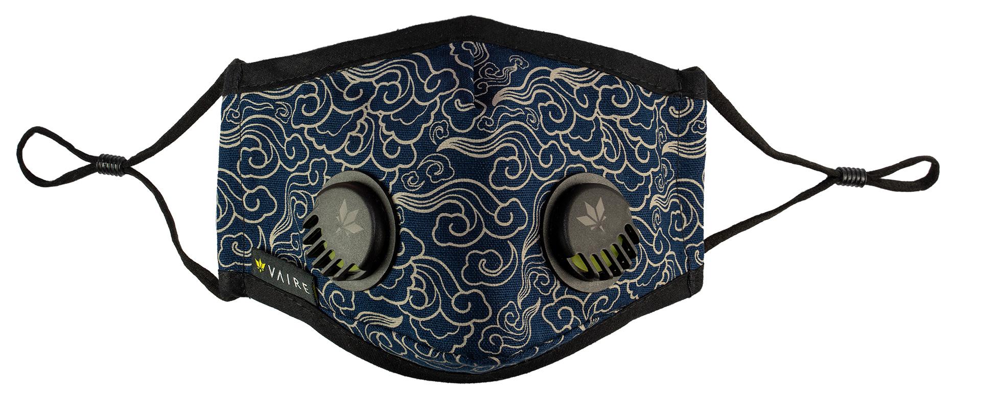 Granatowa maska Vaire w żółte fale