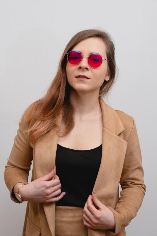 okulary do komputera z czerwonymi szkłami biohac moon