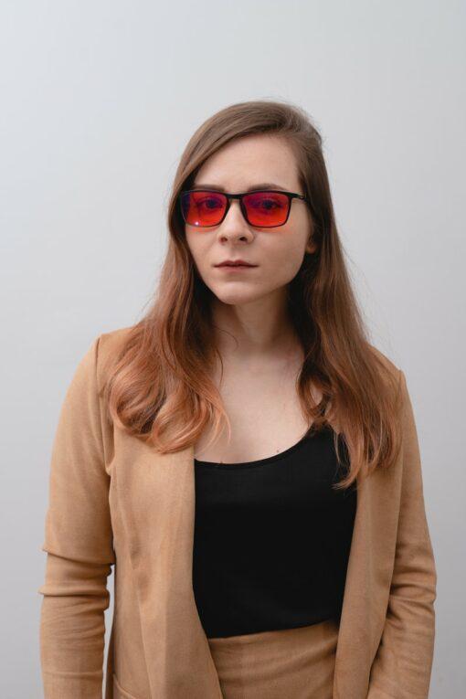 prostokątne okulary do komputera z pomarańczowymi szkłami biohac moon